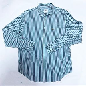 Lacoste Purple/Green Stripe Shirt, Size 42. LARGE